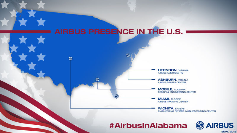 Unidades da Airbus nos Estados Unidos atualmente.