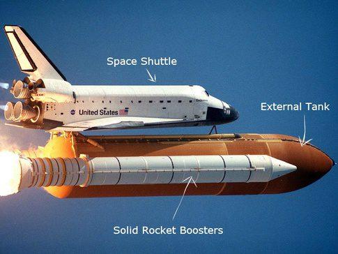 Space Shuttle com seus 2 boosters em funcionamento.