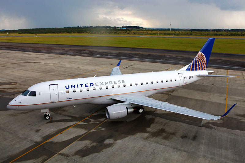 E175 na marca da United Express sendo operado pela SkyWest. Foto: Embraer