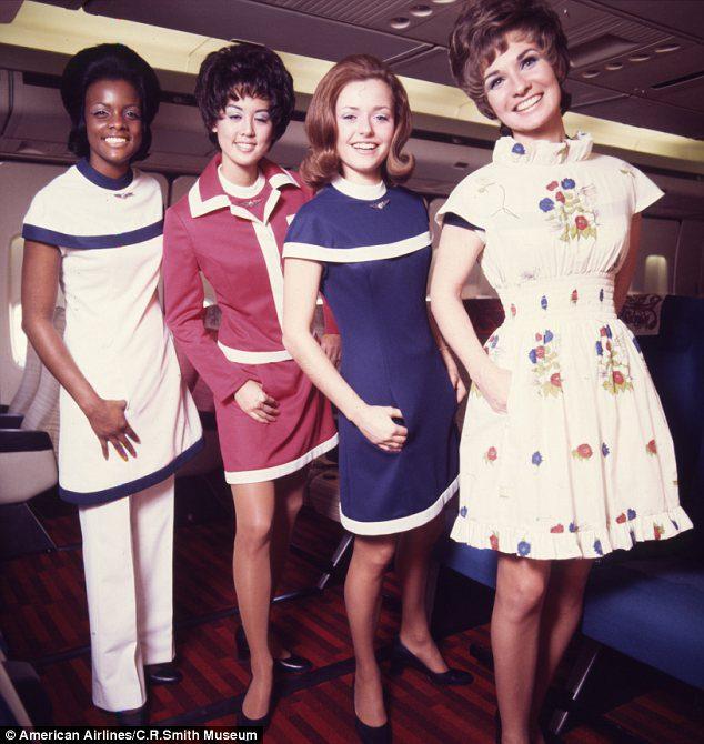 Comissárias da American Airlines nos anos 70.
