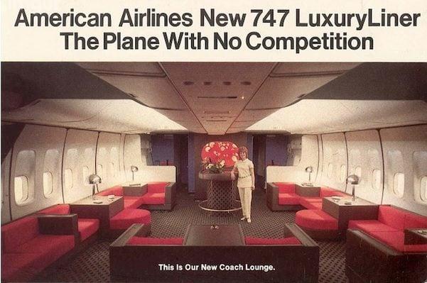 Anuncio de revista mostrando conforto a bordo do 747 da American Airlines.