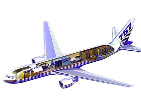 Organização de carga em um 767F.