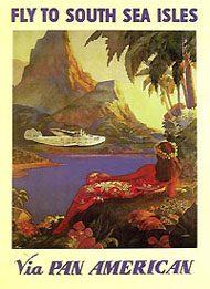 Poster de divulgação das rotas para América do Sul da empresa com o Boeing 314.